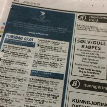 Kinospalten tilbake i Aftenposten